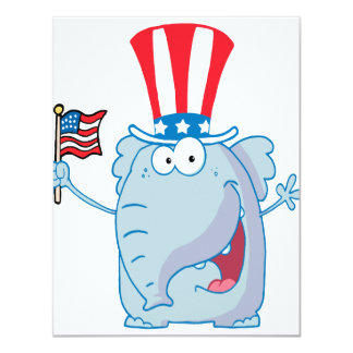 cute patriotic elephant cartoon republican invitations