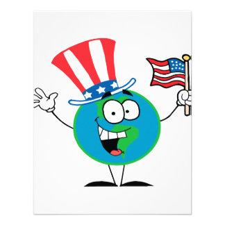 cute patriotic globe cartoon usa personalized announcement
