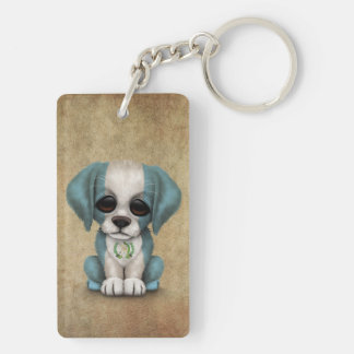 Cute Patriotic Guatemalan Flag Puppy Dog, Rough Double-Sided Rectangular Acrylic Key Ring
