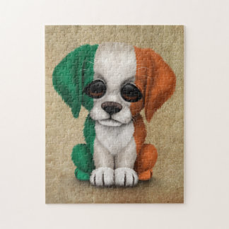 Cute Patriotic Irish Flag Puppy Dog, Rough Jigsaw Puzzle