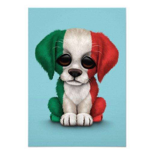 Cute Patriotic Italian Flag Puppy Dog, Blue Announcements