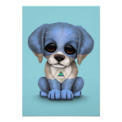 Cute Patriotic Nicaraguan Flag Puppy Dog, Blue Custom Announcement