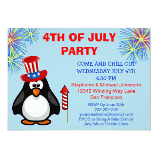 Cute Patriotic Penguin Fireworks 4th of July Party 13 Cm X 18 Cm Invitation Card