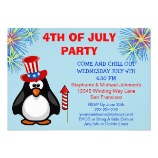 Cute Patriotic Penguin Fireworks 4th of July Party Custom Announcements