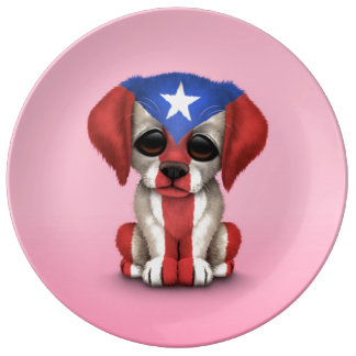 Cute Patriotic Puerto Rico Flag Puppy Dog, Pink Porcelain Plates