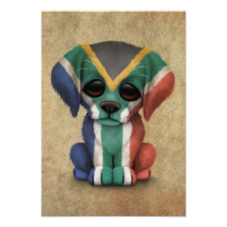 Cute Patriotic South African Flag Puppy Dog Rough Announcement