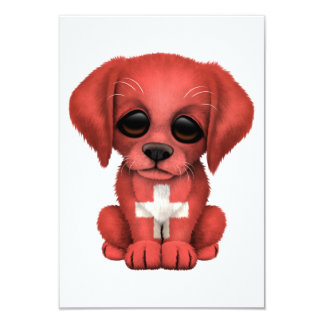 Cute Patriotic Swiss Flag Puppy Dog Personalized Invitations