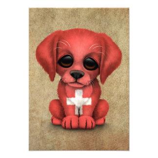 Cute Patriotic Swiss Flag Puppy Dog Rough Announcement