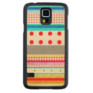 Cute Pattern Gingham Striped Fun Carved Maple Galaxy S5 Case