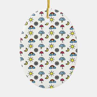 cute pattern weather ceramic oval decoration