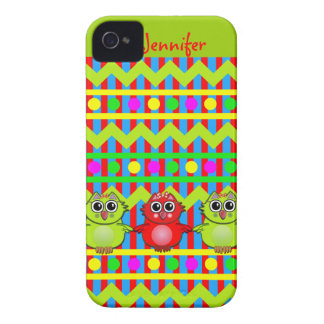 Cute Patterns iPhone 4 case with Owls & Name