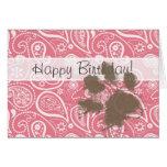 Cute Pawprint on Blush Pink Paisley Card