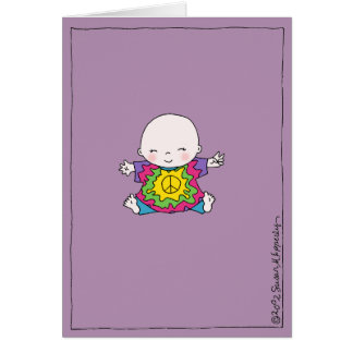 Cute Peace Baby Hippie / Hippy Baby Shower Greeting Card