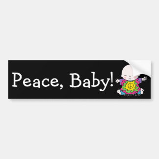 Cute Peace Baby Hippie / Hippy Tie Dye Bumper Sticker