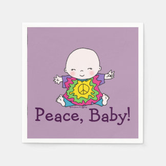 Cute Peace Baby Hippie / Hippy Tie Dye Disposable Napkin