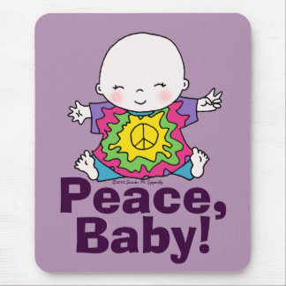 Cute Peace Baby Hippie / Hippy Tie Dye Mouse Pad