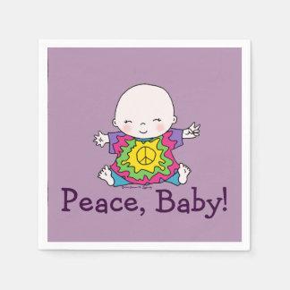 Cute Peace Baby Hippie / Hippy Tie Dye Disposable Napkin