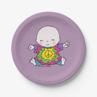 Cute Peace Baby Hippie / Hippy Tie Dye 7 Inch Paper Plate