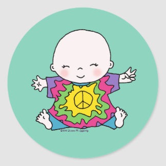 Cute Peace Baby Hippie / Hippy Tie Dye Round Sticker