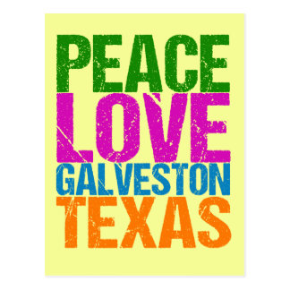 Cute Peace Love Galveston Texas Postcard