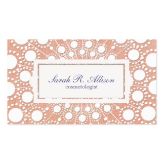 Cute Peach Circle Pattern Beauty Salon and Spa Pack Of Standard Business Cards
