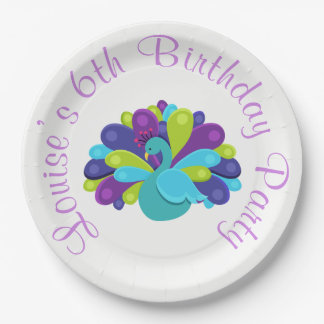 Cute Peacock Green and Purple 9 Inch Paper Plate
