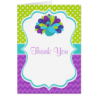 Cute Peacock Green and Purple Birthday Thank You Card
