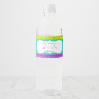 Cute Peacock Green and Purple Water Bottle Label
