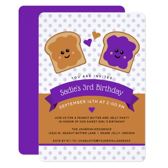 Cute Peanut Butter and Jelly Birthday Invitation