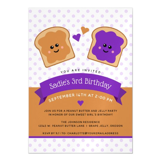Cute Peanut Butter and Jelly Bread Birthday Magnetic Card