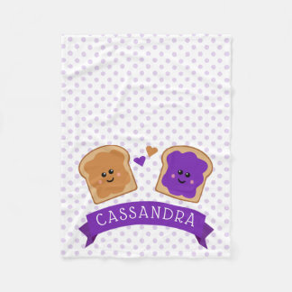Cute Peanut Butter and Jelly Fleece Blanket