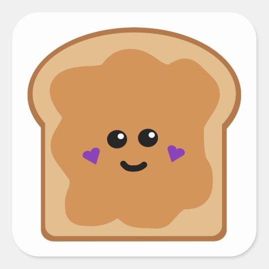 Cute Peanut Butter Bread Square Sticker