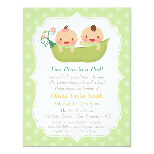 Cute Peas In A Pod Twin Baby Shower Invitations Zazzle Com Au