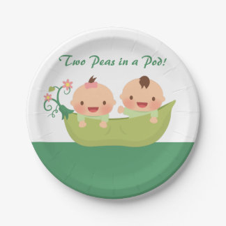 Cute Peas in a Pod Twin Baby Shower Supplies Paper Plate