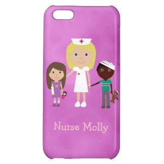 Cute Pediatric Nurse & Children Purple iPhone 5C Cases