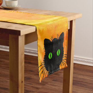 Cute Peek-A-Boo Black Cat on Halloween Orange