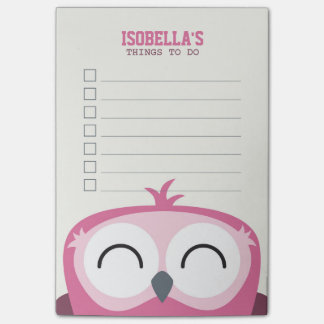 Cute Peekaboo Happy Pink Owl To Do List Post-it Notes