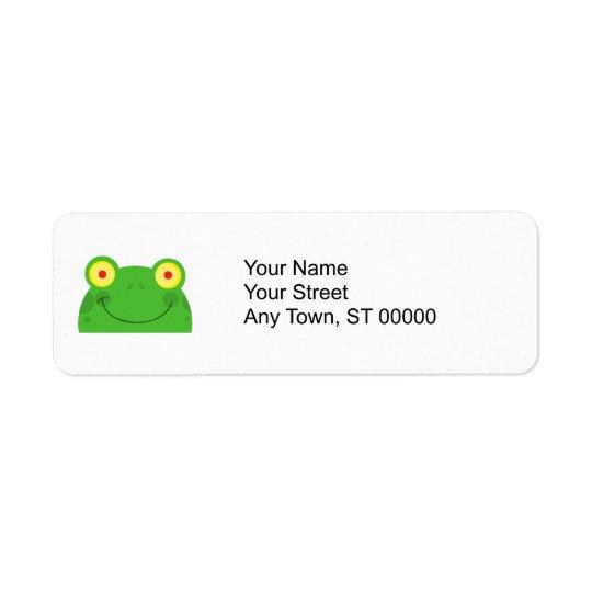 cute peeking cartoon frog froggy face return address label
