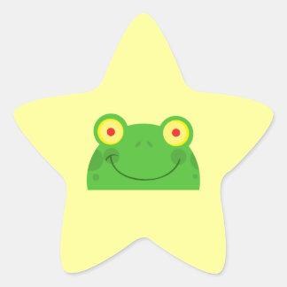 cute peeking cartoon frog froggy face star sticker