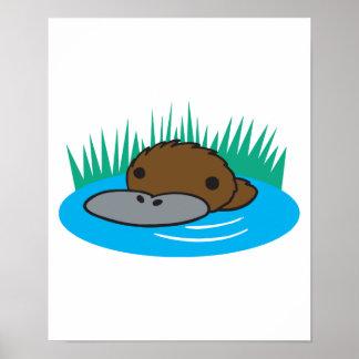 cute peeking platypus poster