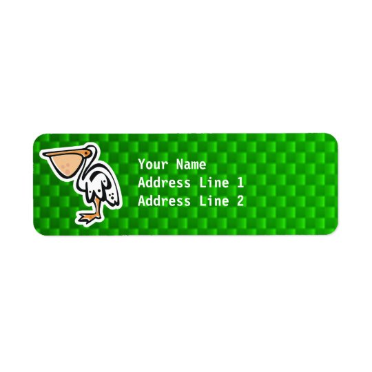 Cute Pelican; Green Return Address Label