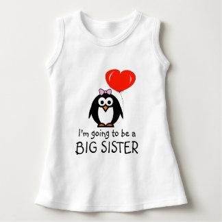 Cute penguin Big Sister baby dress for sibling