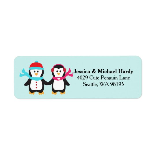 Cute Penguin Bird Couple Christmas Winter Return Address Label