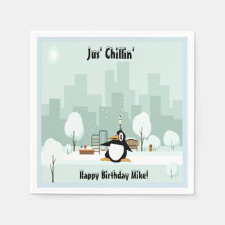 Cute Penguin Birthday Cocktail Napkins Disposable Napkin