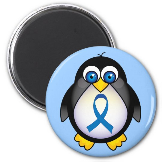 Cute Penguin Blue Ribbon Awareness Magnet