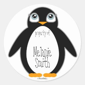 cute penguin BOOKPLATE book label Classic Round Sticker
