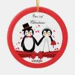 Cute Penguin Bride & Groom Wedding 1st Christmas