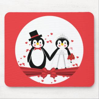 Cute Penguin Bride & Groom Wedding Mousepad