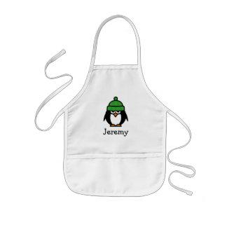 Cute penguin cartoon apron for kids | Custom name