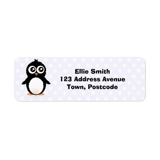 Cute penguin cartoon return address label